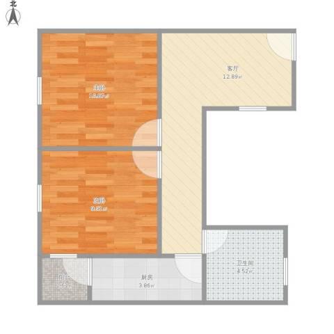 平江盛世家园2室1厅1卫1厨60.00㎡户型图