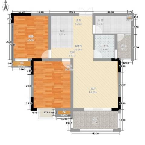 远洋高尔夫国际社区果岭洋楼2室1厅1卫1厨81.00㎡户型图