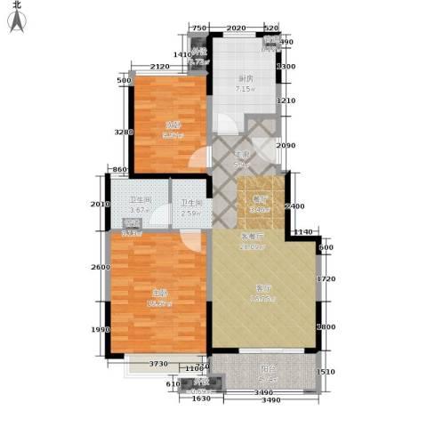 万科时一区2室1厅1卫1厨78.00㎡户型图