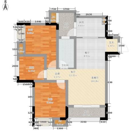 远洋高尔夫国际社区果岭洋楼3室1厅1卫1厨85.00㎡户型图