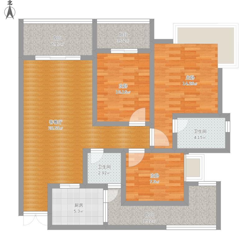 东和花园三居室107m²