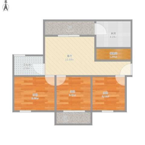圣鑫苑一期3室1厅1卫1厨59.00㎡户型图
