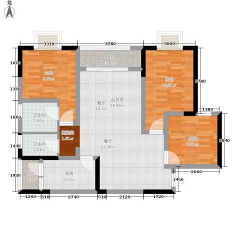 乔鹤西苑3室0厅2卫1厨99.00㎡户型图