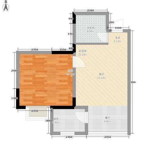 锦绣江南1室0厅1卫1厨48.00㎡户型图