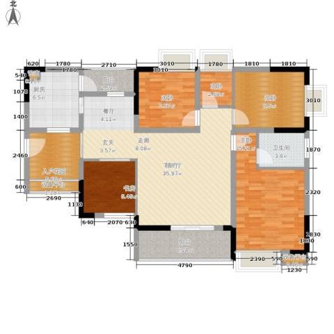 泰吉滨江二期岭澜5室1厅1卫1厨120.00㎡户型图