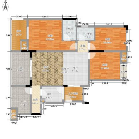 金科开州财富中心3室1厅2卫1厨121.00㎡户型图