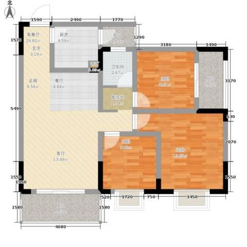 泰吉滨江二期岭澜3室1厅1卫1厨86.00㎡户型图