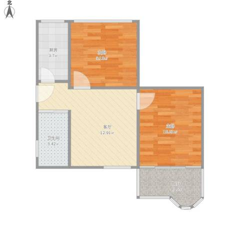 普德花园2室1厅1卫1厨60.00㎡户型图