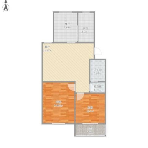 融康苑2室2厅1卫1厨95.00㎡户型图