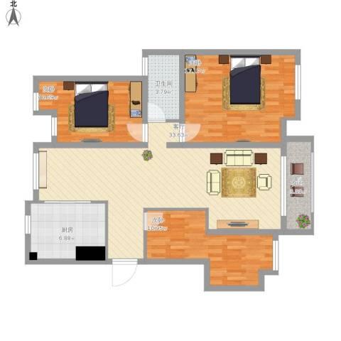 南方城二期3室1厅1卫1厨125.00㎡户型图