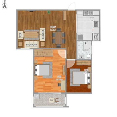 天泽水岸2室1厅1卫1厨91.00㎡户型图