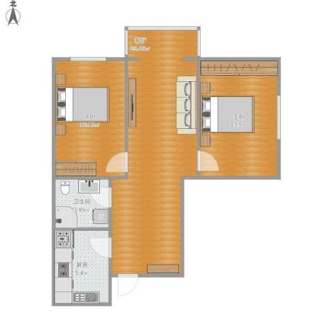 天津富力桃园2室1厅1卫1厨82.00㎡户型图