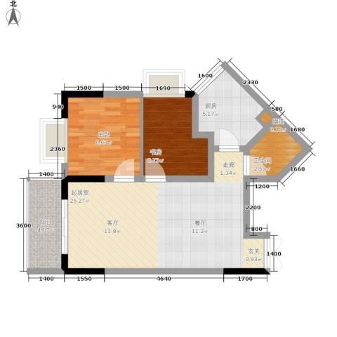 顺祥壹街区2室0厅1卫1厨57.00㎡户型图