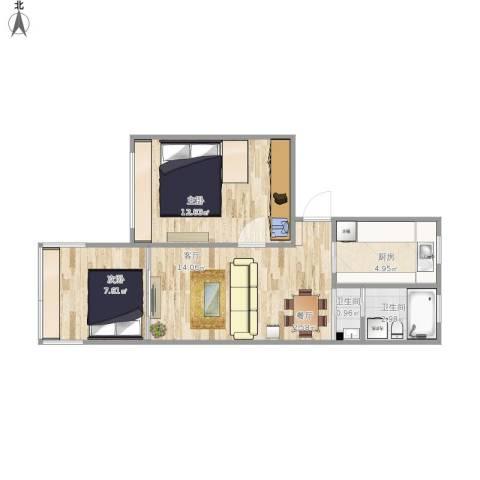 牡丹路399弄小区2室1厅2卫1厨59.00㎡户型图