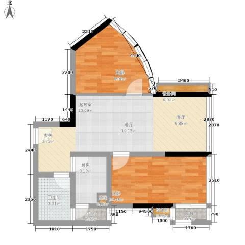 南滨国际2室0厅1卫1厨71.00㎡户型图