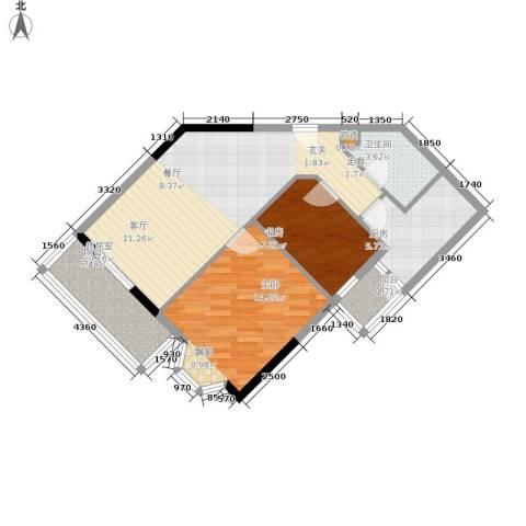 海客瀛洲2室0厅1卫1厨88.00㎡户型图