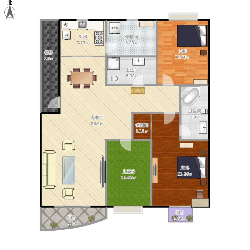 151平3室2厅2卫1厨