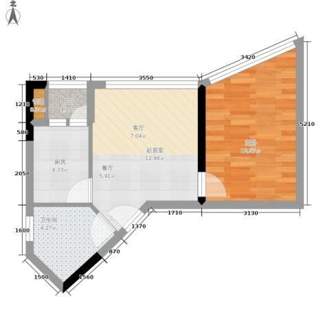 海客瀛洲1室0厅1卫1厨52.00㎡户型图
