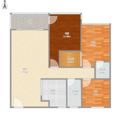 雅居苑3室1厅2卫1厨101.00㎡户型图