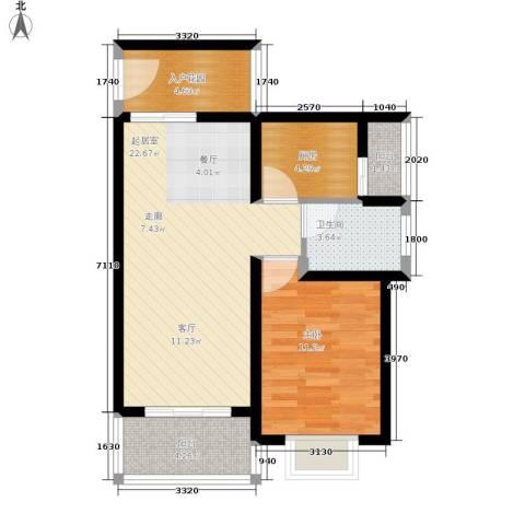 平宇林泉雅舍1室0厅1卫1厨61.00㎡户型图