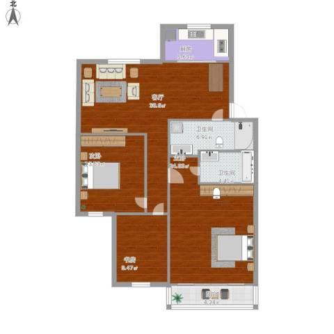 嘉州美都一期欢乐园3室1厅2卫1厨138.00㎡户型图