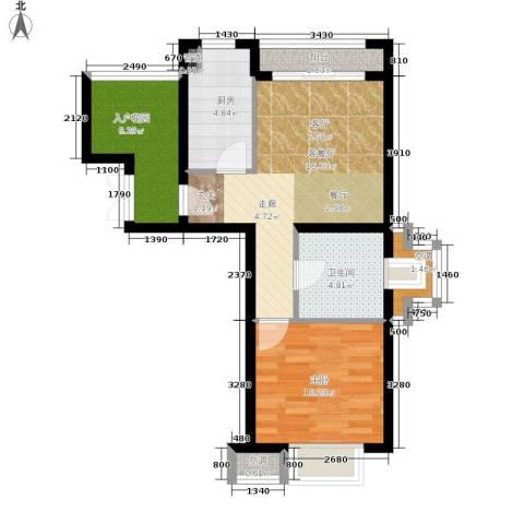 富力湾四季半岛1室1厅1卫1厨56.00㎡户型图