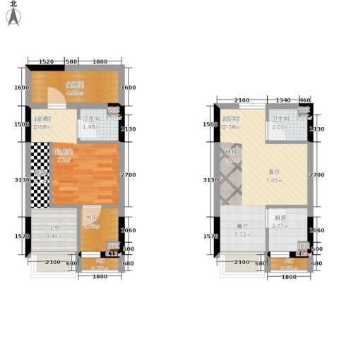 顺祥壹街区1室0厅2卫1厨52.00㎡户型图