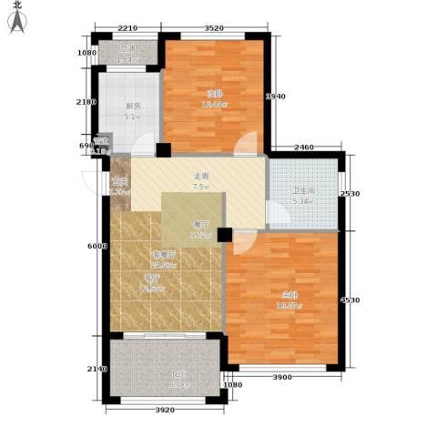 嵊泗天悦湾滨海度假村2室1厅1卫1厨82.00㎡户型图