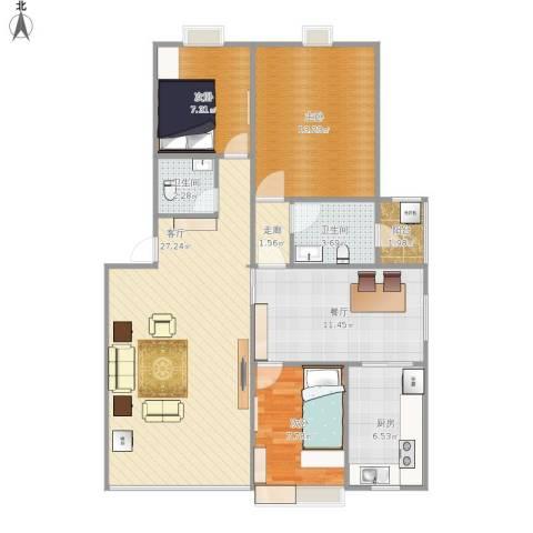 塞纳阳光3室2厅2卫1厨112.00㎡户型图