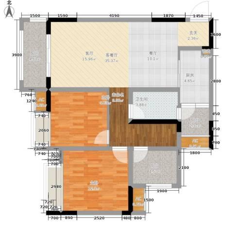 金科开州财富中心2室1厅1卫1厨102.00㎡户型图
