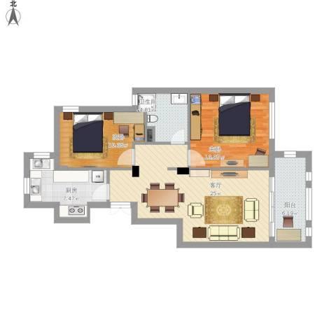 半岛康桥2室1厅1卫1厨98.00㎡户型图