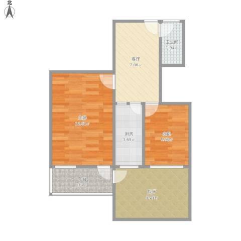 鼓教新村2室1厅1卫1厨60.00㎡户型图
