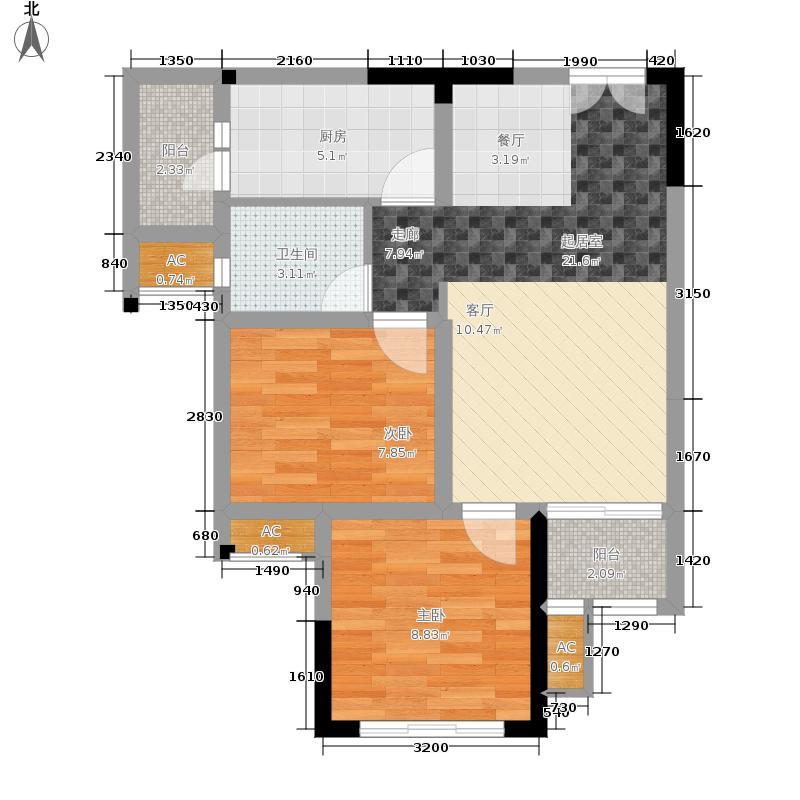 风花树71.40㎡二期14、15号楼高层5号房户型2室2厅