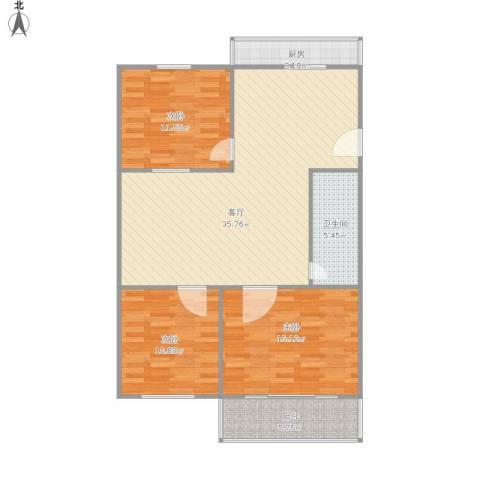 育阳小区3室1厅1卫1厨118.00㎡户型图