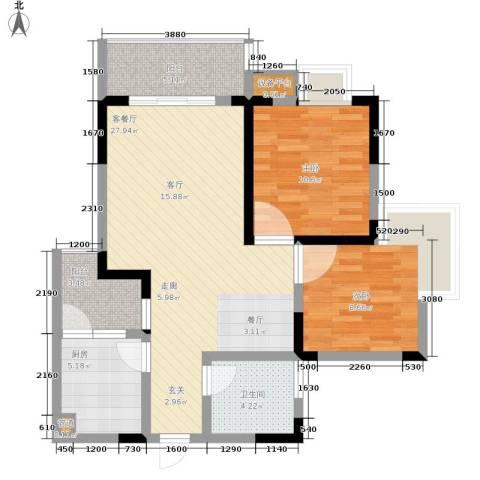 泰吉滨江二期岭澜2室1厅1卫1厨69.00㎡户型图