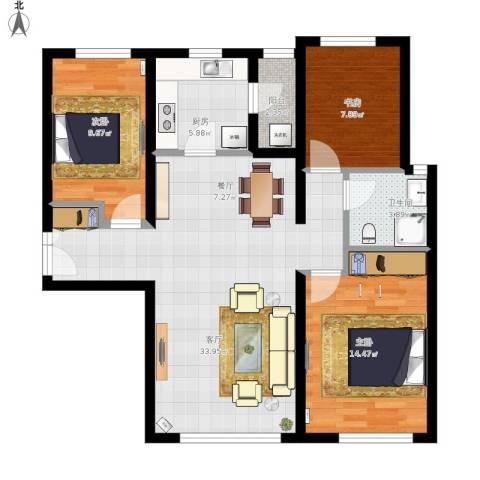 富力新城3室1厅1卫1厨112.00㎡户型图