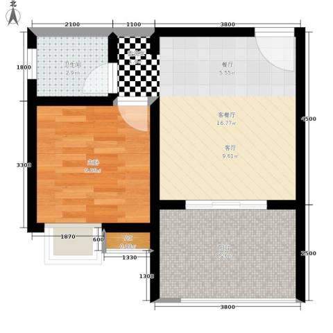 重庆红枫林国际度假村1室1厅1卫0厨43.00㎡户型图