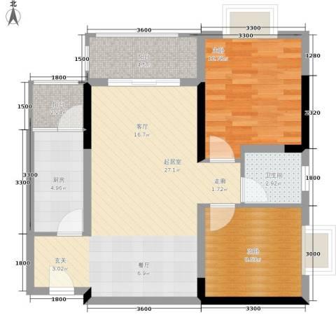 布克公馆2室0厅1卫1厨66.00㎡户型图