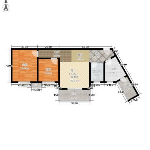 大川水岸菲尔小城2室1厅1卫1厨84.00㎡户型图