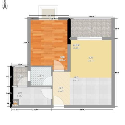 布克公馆1室0厅1卫1厨42.00㎡户型图
