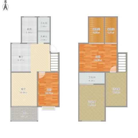 瀛洲湾花园2室1厅2卫1厨160.00㎡户型图