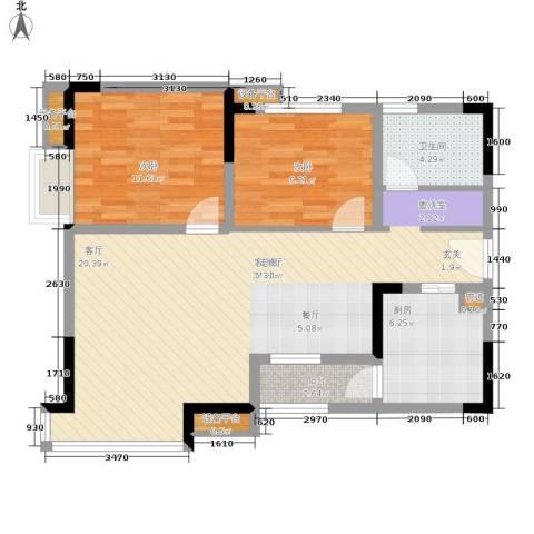 泰吉滨江二期岭澜2室1厅1卫1厨91.00㎡户型图
