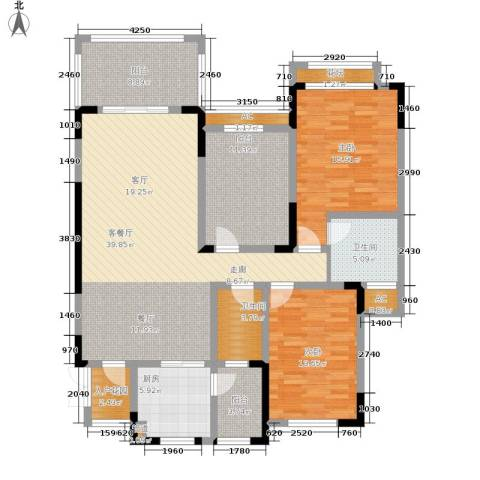 蓝光十里蓝山别墅2室1厅2卫1厨166.00㎡户型图