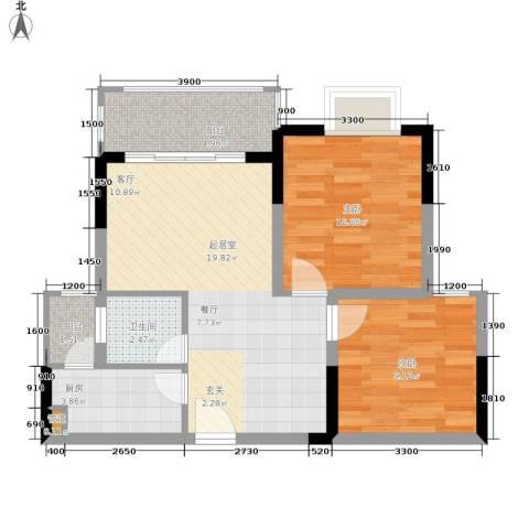布克公馆2室0厅1卫1厨56.00㎡户型图
