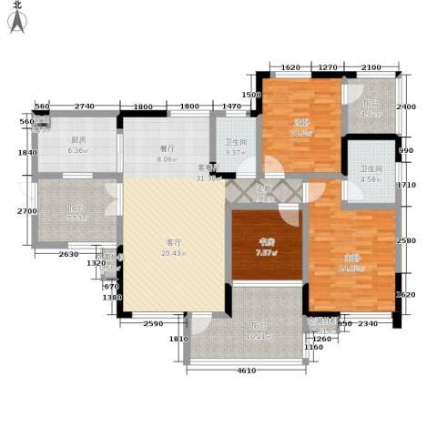 雅瑞阁青山河畔3室1厅2卫1厨124.00㎡户型图