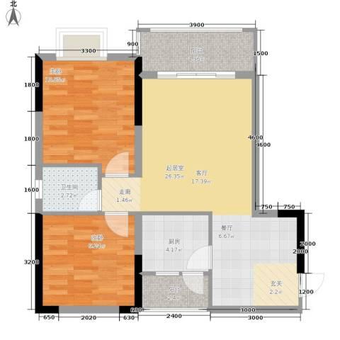 布克公馆2室0厅1卫1厨64.00㎡户型图
