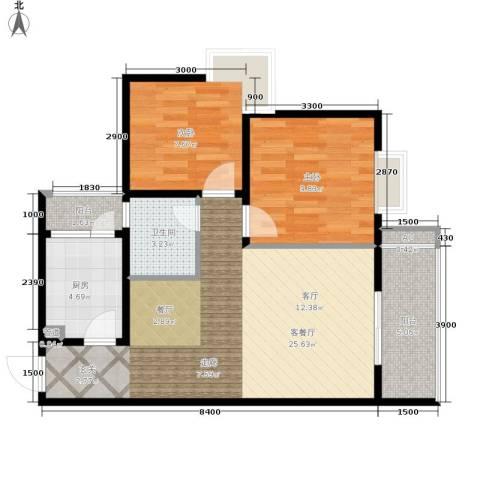 大川水岸菲尔小城2室1厅1卫1厨78.00㎡户型图