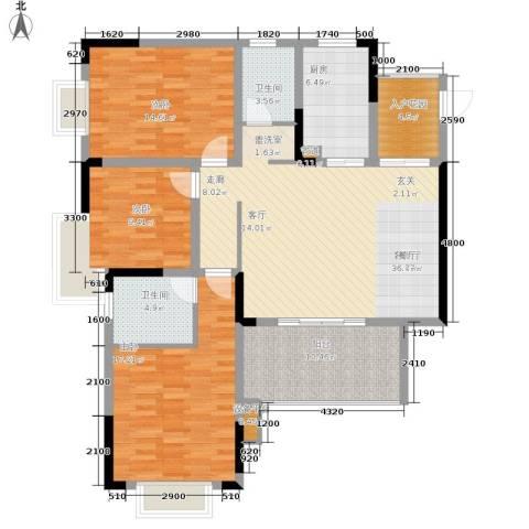 泰吉滨江二期岭澜3室1厅2卫1厨109.00㎡户型图