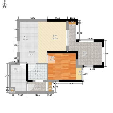 正升青青丽苑1室0厅1卫1厨45.24㎡户型图