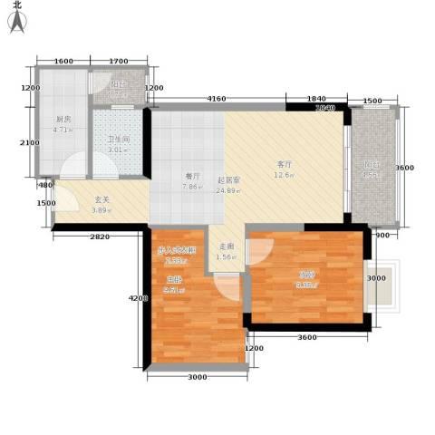 布克公馆2室0厅1卫1厨62.00㎡户型图